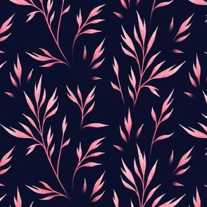 Delicate Leaves - Navy / Coral