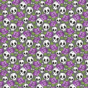 Skulls and Roses Purple on Dark Grey Tiny Small