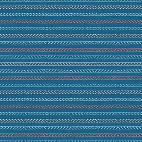 Hand drawn textured maritime rope stripes.