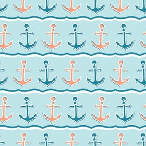 Cute stripe marine anchor seamless vector pattern.
