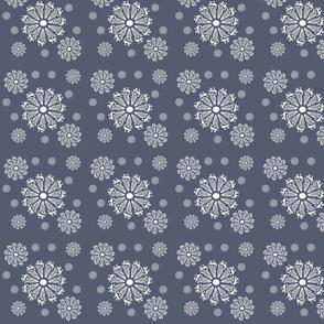 Floral Pinwheels- Navy