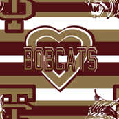 Texas State Bobcats Maroon Gold White Team School Colors Stripes Heart