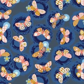 Fly by Night* || moths butterflies texture pattern circles living coral insects nature flowers floral mustard