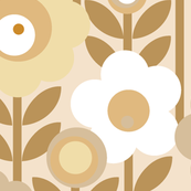 Marguerite* (Neutral) || vintage sheet mod 70s 60s flower floral leaves stem garden spring summer khaki retreat
