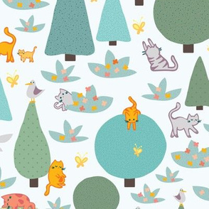Funny Cats in Forest