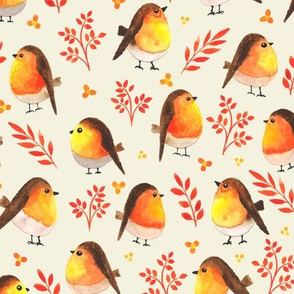 Watercolor Cute Orange Birds