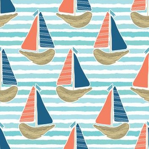 Cute driftwood sailboat on the blue ocean sea pattern.