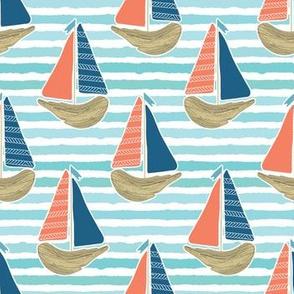 Cute driftwood sailboat on the blue ocean sea pattern.