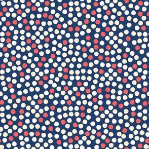 Navy blue white polka dot circles.