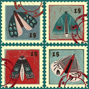 Folkart Moth Stamps