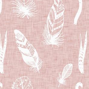 Modern Farm House Feathers Neutral Rose