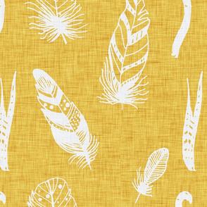 Modern Farm House Feathers Neutral Yellow