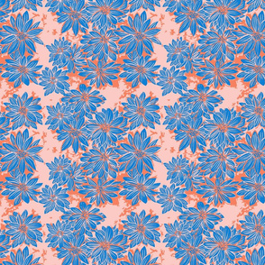 Tangerine and Periwinkle Floral