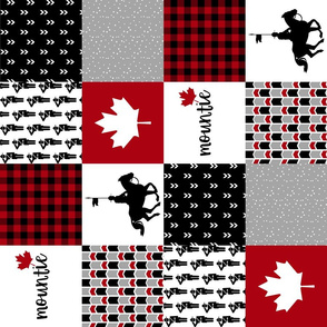 4.5 inch RCMP//Mountie - Wholecloth Cheater Quilt - Rotated