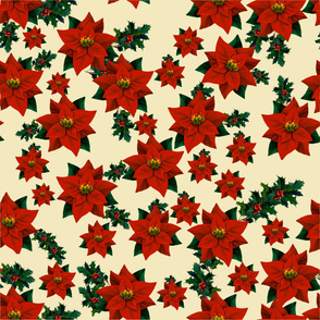 Poinsettia and Holly Fabric