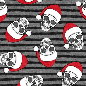 santa hat skulls on grey and black stripes - LAD19