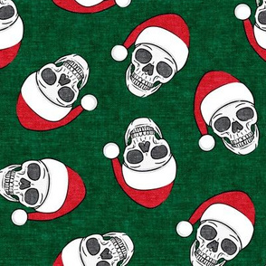 santa hat skulls on green - LAD19