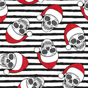santa hat skulls on stripes  - LAD19