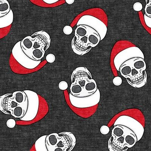 santa hat skulls on dark grey - LAD19