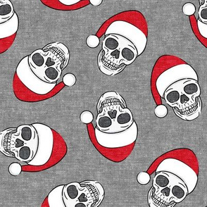 santa hat skulls on grey - LAD19