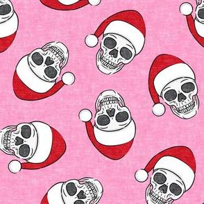 santa hat skulls on pink - LAD19