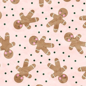 gingerbread man toss on pink with green polka dots  - cute watercolor christmas cookies - LAD19