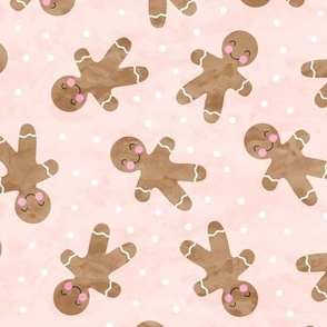gingerbread man toss on pink - cute watercolor christmas cookies - LAD19