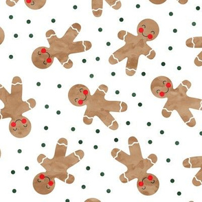 gingerbread man toss on white - cute watercolor christmas cookies - LAD19