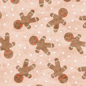 gingerbread man toss on blush - cute watercolor christmas cookies - LAD19