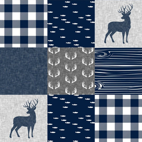 navy and grey (buck) quilt woodland C19BS