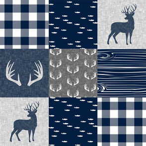 antlers - navy and grey (buck) quilt woodland C19BS