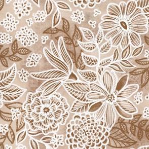 Tan Brown Russet Floral Retreat by Angel Gerardo
