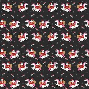 SMALL - santa unicorn fabric - funny christmas fabric, unicorn christmas fabric, santa claus fabric, father christmas fabric, cute holiday design -  black