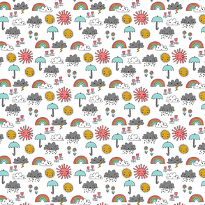 SMALL - weather // rainbow clouds sunshine happy nursery kids fabric white multi