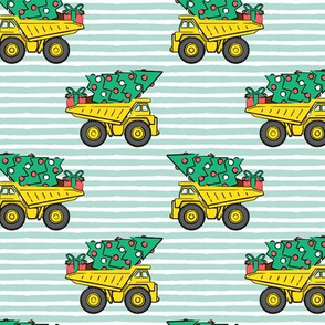 Christmas Tree Dump Trucks (mint stripes) - construction tree with gifts - LAD19