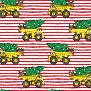 Christmas Tree Dump Trucks (red stripes) - construction tree with gifts - LAD19