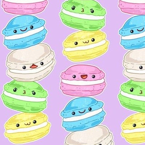 Stacked Macarons on purple