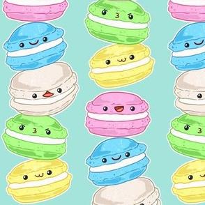 Stacked Macarons on Aqua