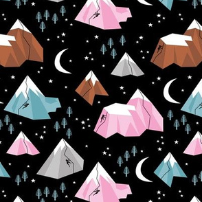 Geometric blue pink mountains rock climbing and bouldering new moon night Canada winter night black pink girls