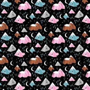 Geometric blue pink mountains rock climbing and bouldering new moon night Canada winter night black pink girls XS