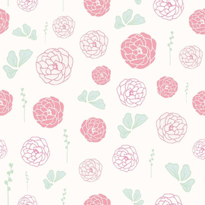 Delicate Peonies In Seamless Pattern