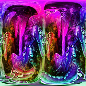 large magical abstraction cells moths rainbow forest 6 fuchsia pink purple paysmage
