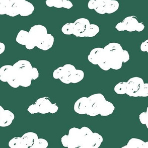 Soft clouds dreams and sleepy wonderland sky pattern winter autumn forest green