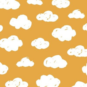 Soft clouds dreams and sleepy wonderland sky pattern winter autumn ochre yellow