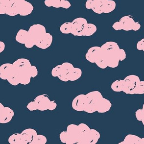 Soft clouds dreams and sleepy wonderland sky pattern winter autumn night navy blue pink