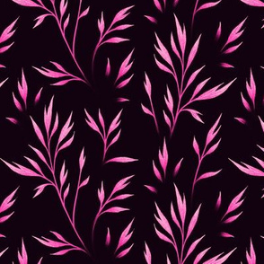 Delicate Leaves - Pink / Black