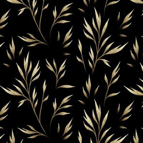 Delicate Leaves - Gold / Black
