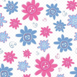 Blue And Pink Happy Flowers