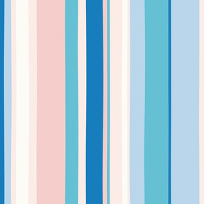 Modern handpainted deckchair stripe in blue 1