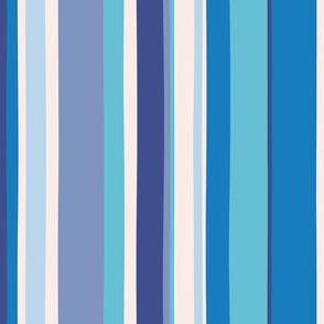 Modern handpainted deckchair stripe in blue 2
